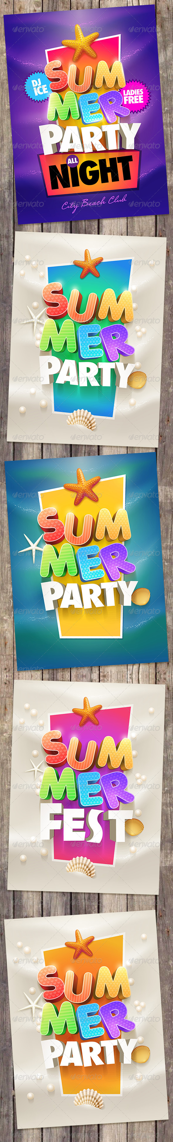GraphicRiver Summer Party Poster Design Collection 7830497