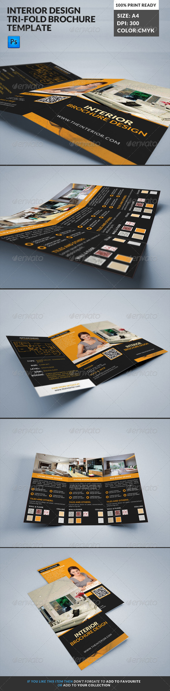 GraphicRiver Interior Design Decoration Tri-Fold Brochure 7830835