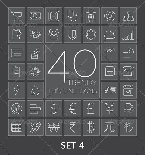 40 Trendy Thin Line Icons Set 4