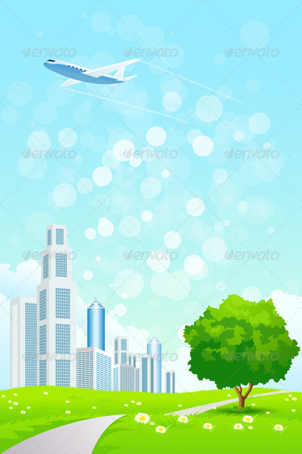 GraphicRiver Green Landscape with City 7830972