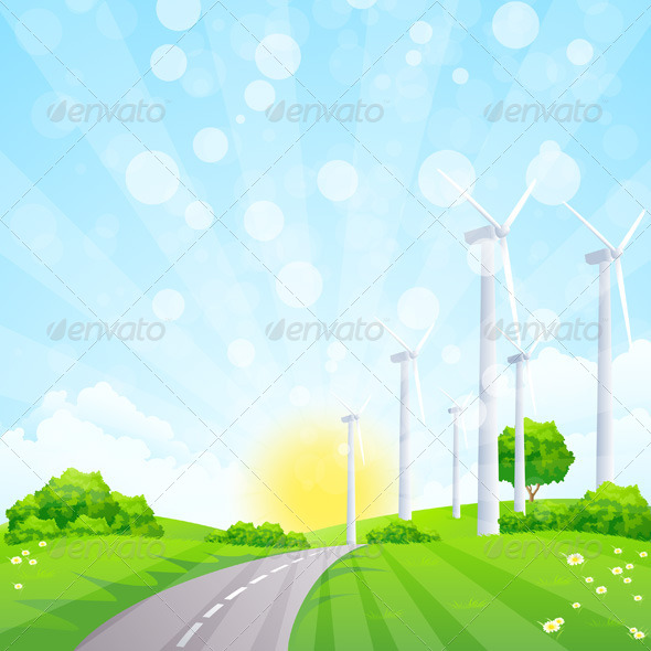GraphicRiver Green Landscape with Wind Power Station 7830977