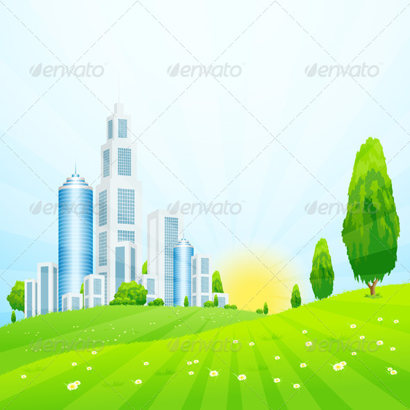 GraphicRiver Green Landscape with City 7830981