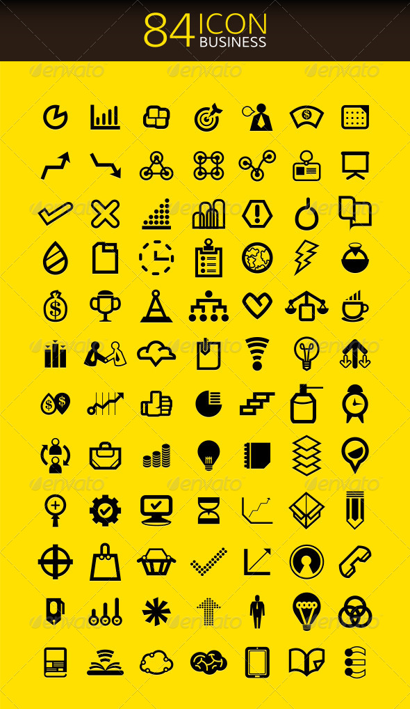 GraphicRiver 84 Icons Set Business 7831711