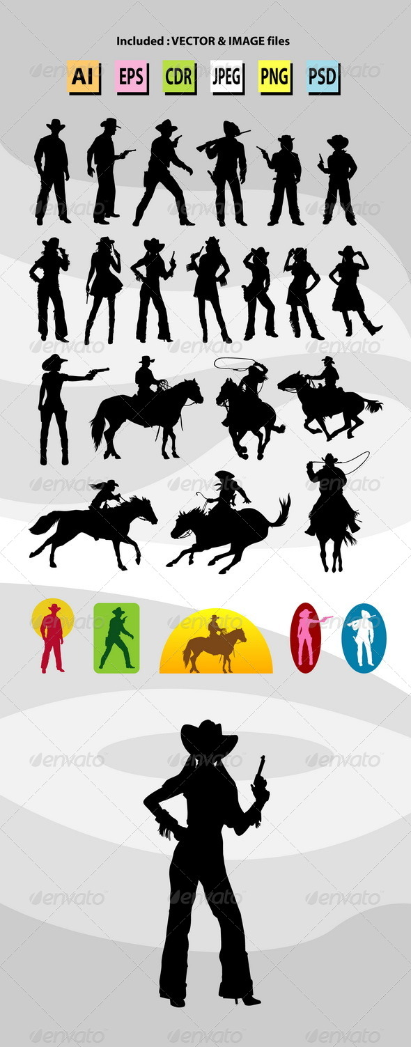GraphicRiver Cowboy and Cowgirl Silhouettes 7833267