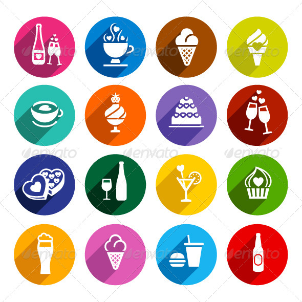 GraphicRiver Flat Food Icons Set 7834230