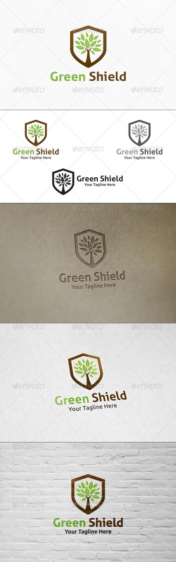 GraphicRiver Green Shield Logo Template 7835055