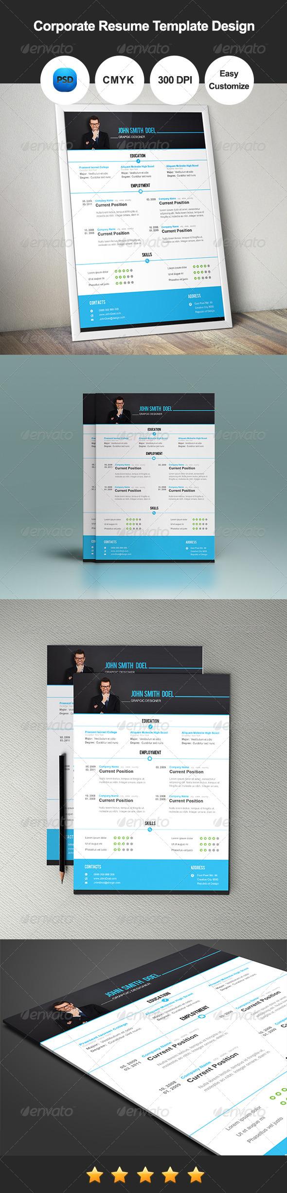 GraphicRiver Corporate Resume Template Design 7835129