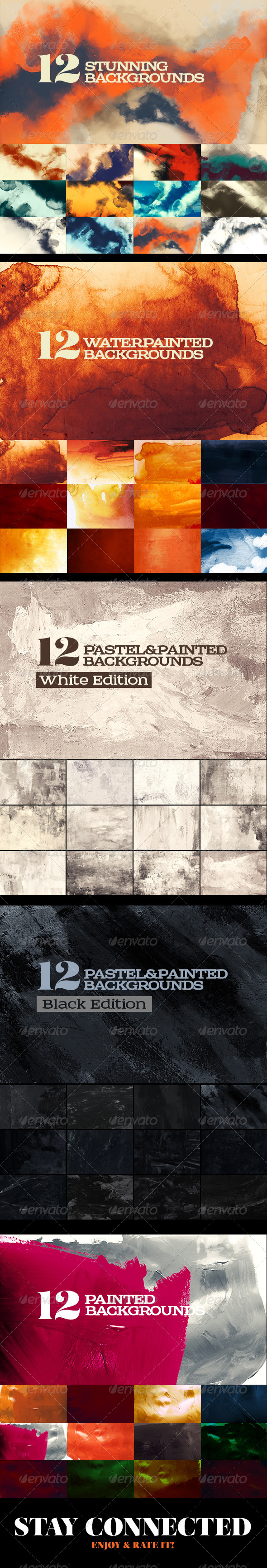 GraphicRiver 60 Painted Watercolor Backgrounds Bundle 7835359