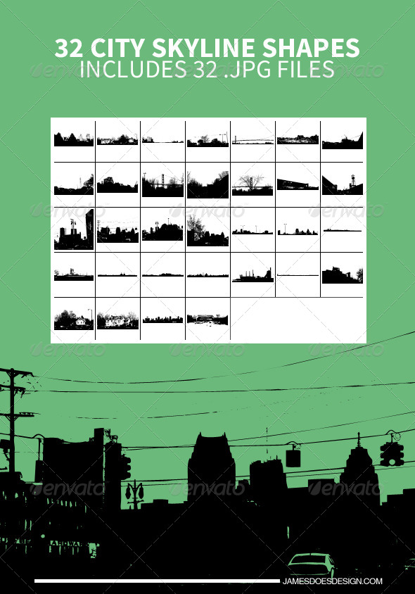 GraphicRiver 32 City Skyline Shapes 7835994