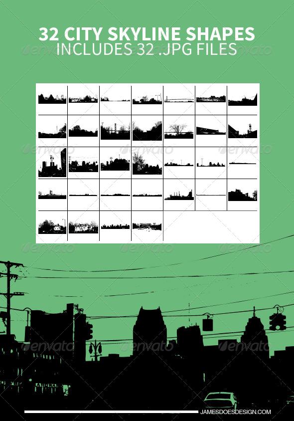 32 City Skyline Shapes
