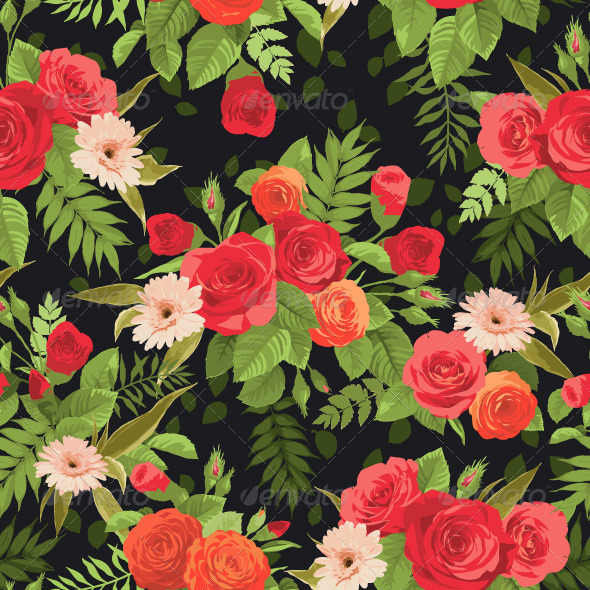 GraphicRiver Seamless Rose Pattern 7836703