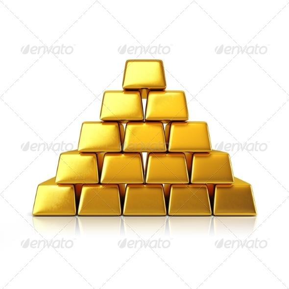 GraphicRiver Golden Bars Pyramid 7836733