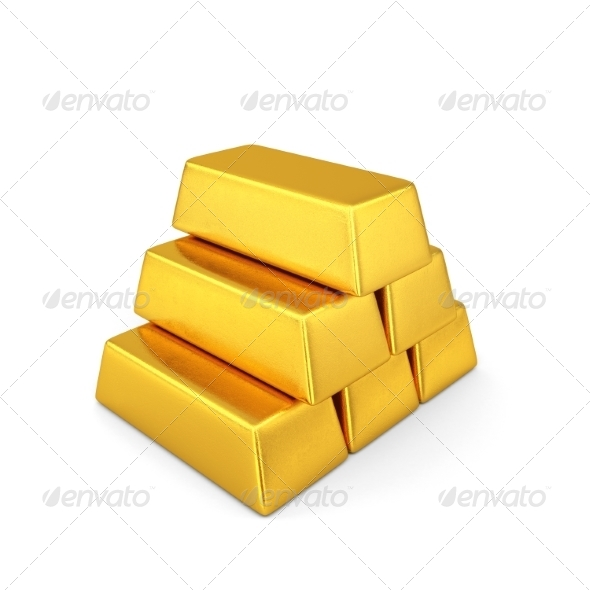 GraphicRiver Golden Bars Pyramid 7836753