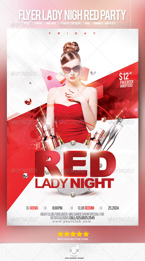 Flyer Lady Night Red Party - Clubs & Parties Events