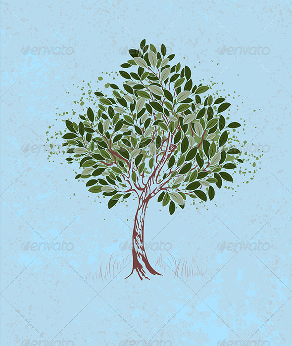 GraphicRiver Young tree on a blue background 7802780