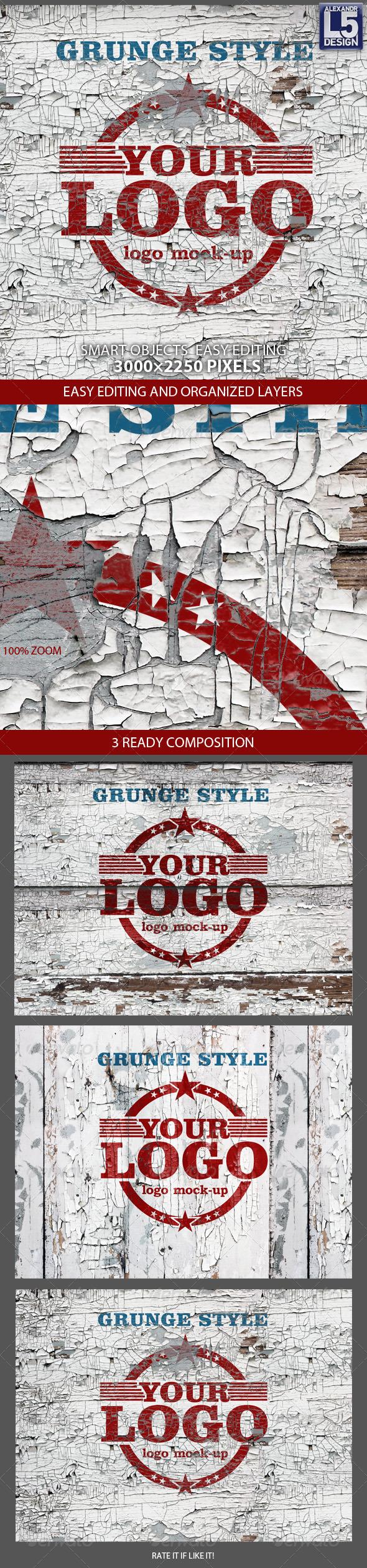GraphicRiver Grunge Wall Logo Mock-up 7837409