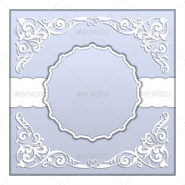GraphicRiver Vector Paper Frame with Lace Ornament 7837447