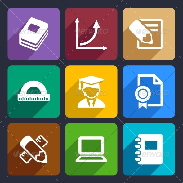 Mathematics Flat Icons Set 51