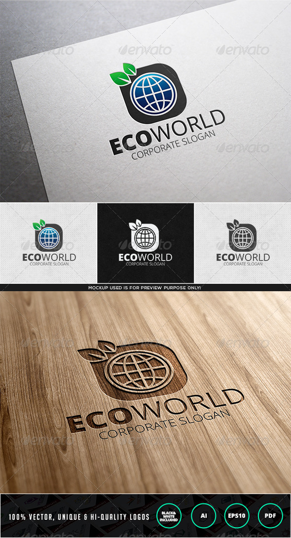 GraphicRiver Eco World Logo Template 7838983