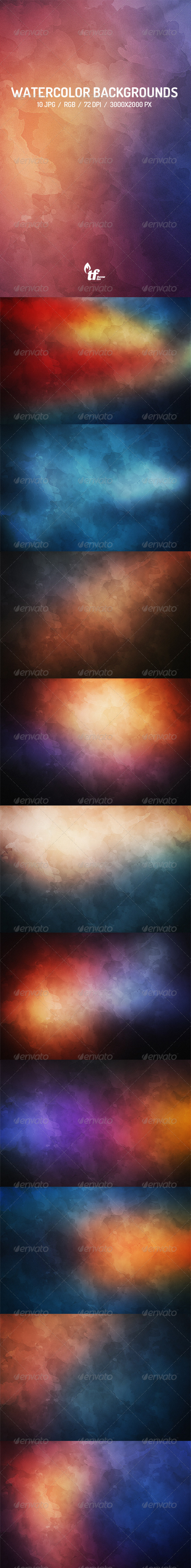 GraphicRiver 10 Watercolor Backgrounds 7839387