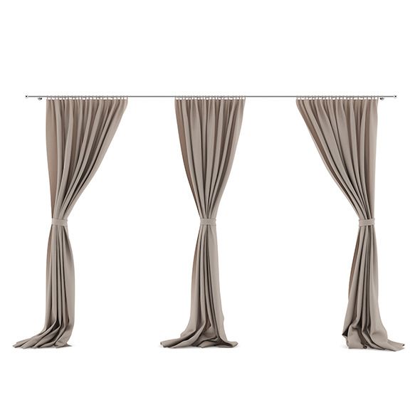 3DOcean Beige Triple Curtains 7839452