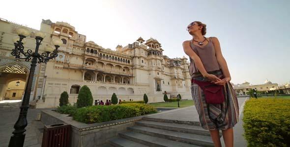 Female Tourist At City Palace Udaipur