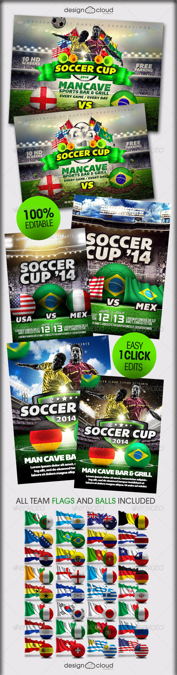 GraphicRiver Soccer Cup World Edition Flyer Bundle 7839478