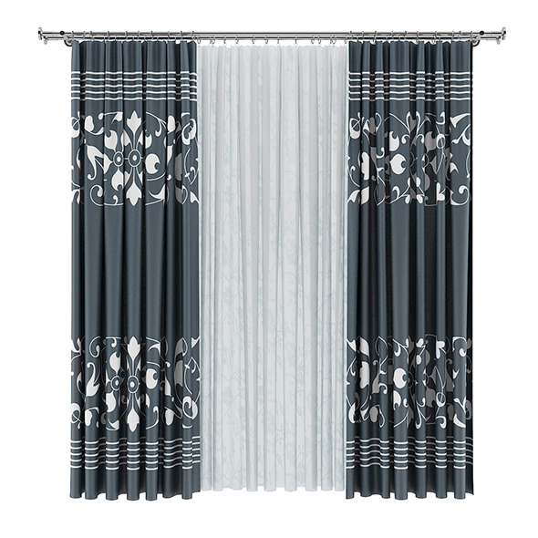 3DOcean Dark and White Curtains 7839479