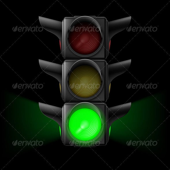 GraphicRiver Traffic Light with Green On 7839570