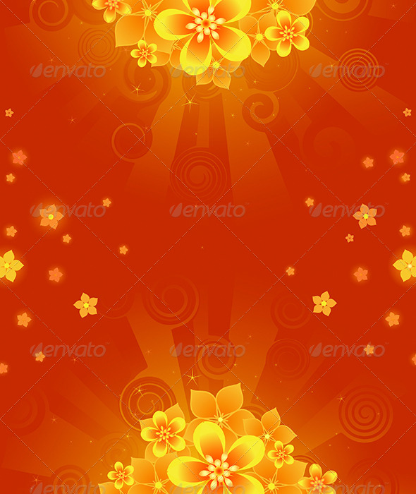 GraphicRiver Background with Orange Flowers 7839681