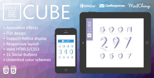 ThemeForest Cube Animation Responsive Coming Soon Page 7839740