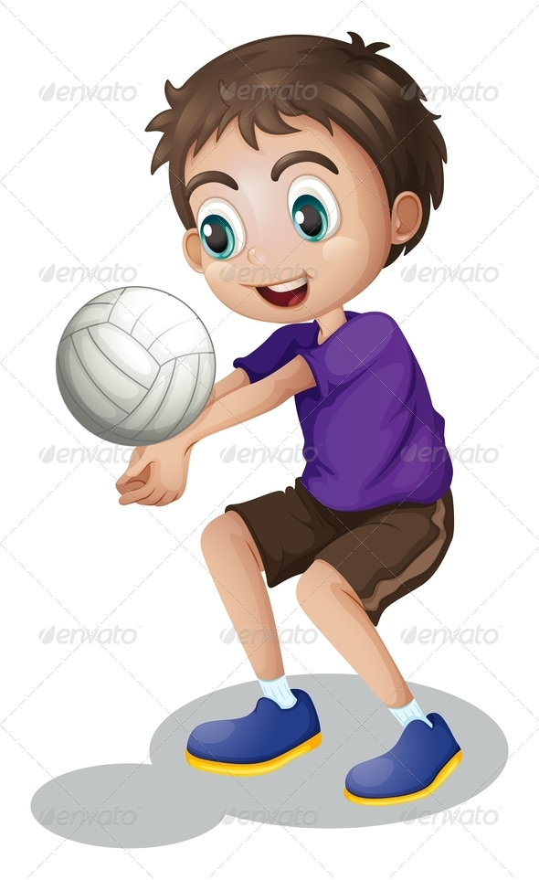 GraphicRiver Young Boy Playing Volleyball 7839778