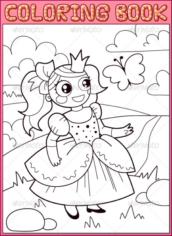 GraphicRiver Coloring Book Little Princess on the Meadow 7839864