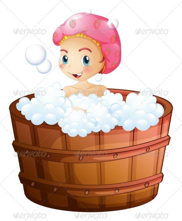 GraphicRiver Smiling Girl Taking a Bath 7839934