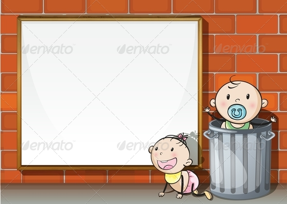 GraphicRiver Babies With an Empty Signboard 7840027