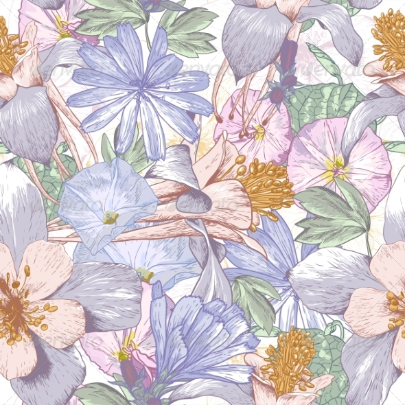 GraphicRiver Summer Seamless Pattern with Wildflowers 7840079
