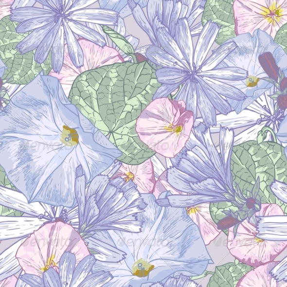 GraphicRiver Summer Seamless Pattern with Wildflowers 7840094