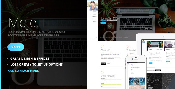 ThemeForest Moje Responsive Bootstrap vCard HTML CSS Theme 7800423