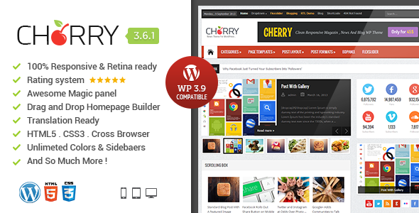 CherryMag - Responsive & Retina WordPress Magazine - News / Editorial Blog / Magazine