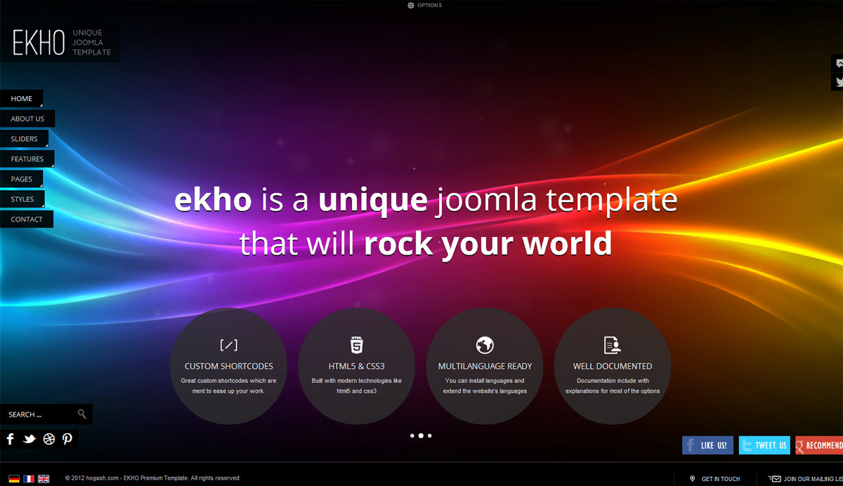 EKHO Responsive Unique Joomla Template - GENERAL PAGE - HOMEPAGE - SIMPLE IMAGE