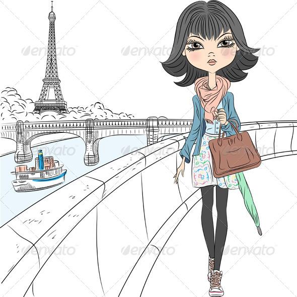 GraphicRiver Fashion Girl in Paris 7841289
