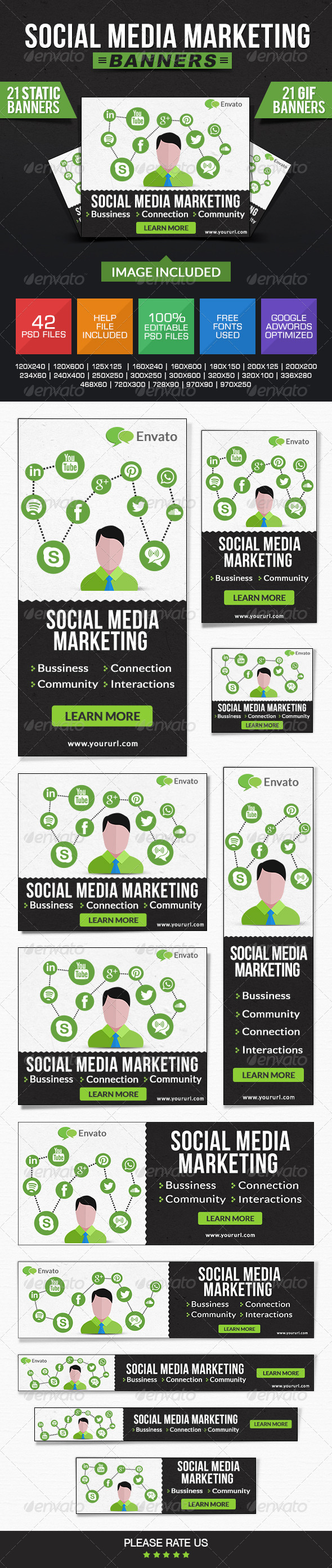 GraphicRiver Social Media Marketing Banners Animated & Static 7841742