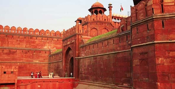 Majestic Walls Facade Of Red Fort In Old Delhi