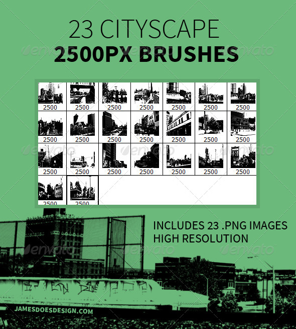 GraphicRiver 23 Cityscape Brushes 7842154