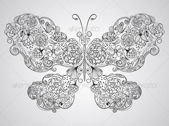 GraphicRiver Butterfly Made of Flowers 7842378
