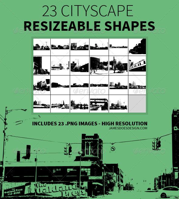 23 Cityscape Resizeable Shapes