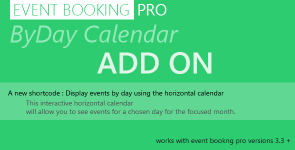 Event Booking Pro byDay Calendar Add on