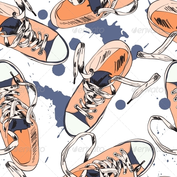 GraphicRiver Gumshoes Seamless Pattern 7842782