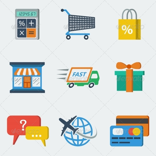 GraphicRiver Shopping E-commerce Icons Flat 7842799