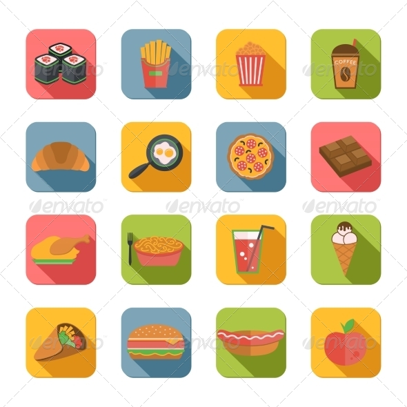 GraphicRiver Fast Food Icons Flat 7842805
